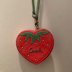 Coach patent leather strawberry coin purse